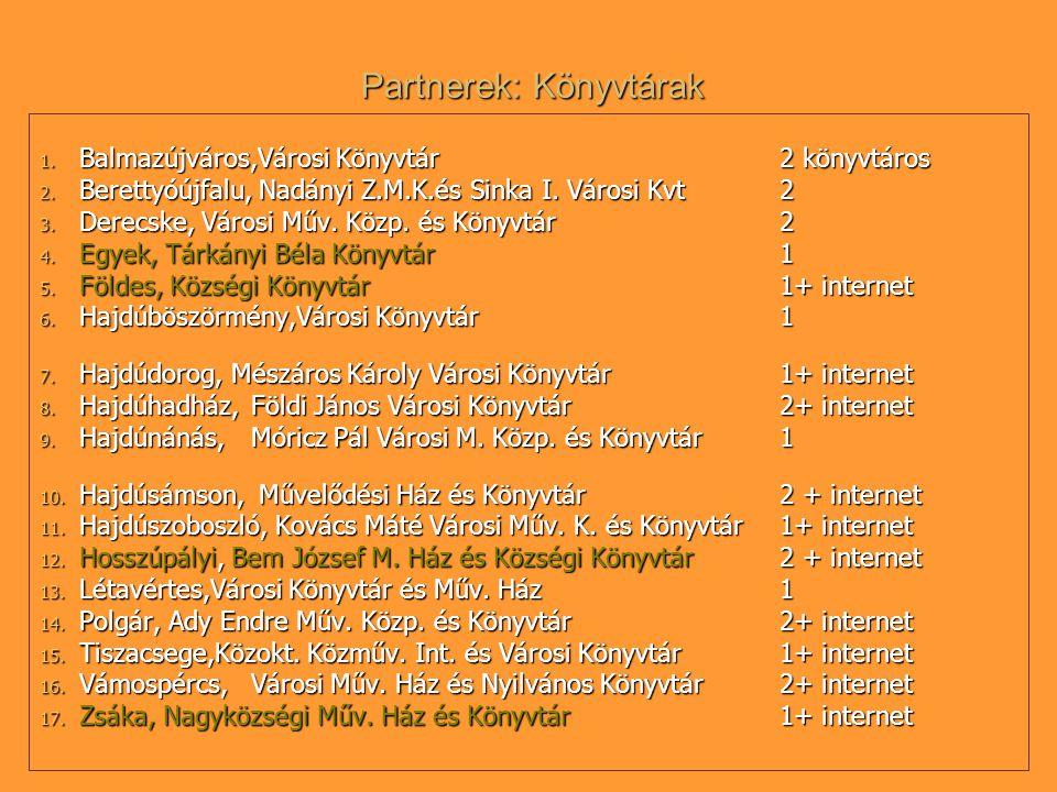 Partnerek: Könyvtárak 1. Balmazújváros,Városi Könyvtár2 könyvtáros 2.