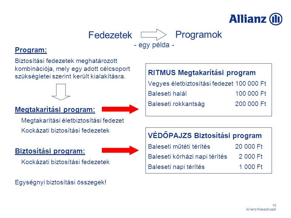 10 Allianz Klasszikusok Fedezetek Program: Biztosítási fedezetek meghatározott kombinációja, mely egy adott célcsoport szükségletei szerint került kia