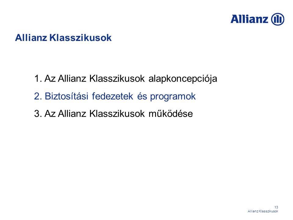 13 Allianz Klasszikusok 1. Az Allianz Klasszikusok alapkoncepciója 2. Biztosítási fedezetek és programok 3. Az Allianz Klasszikusok működése Allianz K