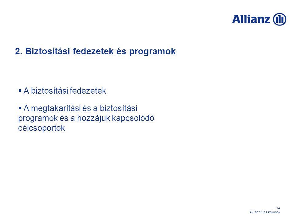 14 Allianz Klasszikusok 2. Biztosítási fedezetek és programok  A biztosítási fedezetek  A megtakarítási és a biztosítási programok és a hozzájuk kap