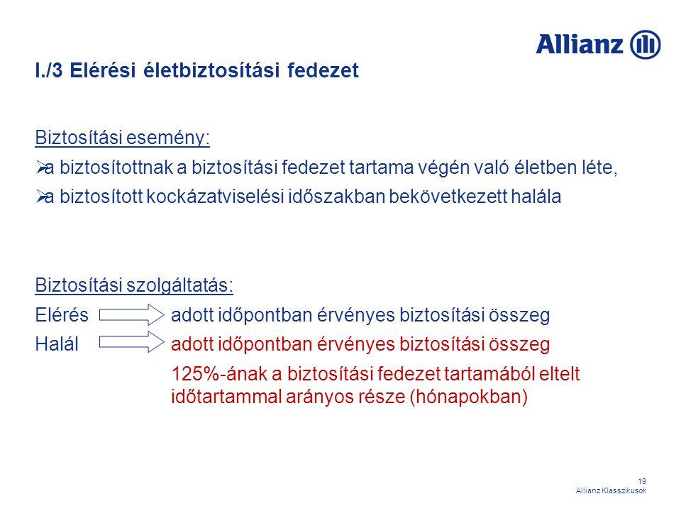 19 Allianz Klasszikusok I./3 Elérési életbiztosítási fedezet Biztosítási esemény:  a biztosítottnak a biztosítási fedezet tartama végén való életben