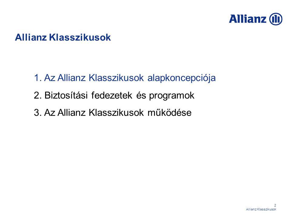 63 Allianz Klasszikusok Biztosítási programok – Medicína extra Célcsoport:  A célcsoport tagjai teljeskörű védelmet szeretnének kialakítani a betegségi kockázatokkal szemben.