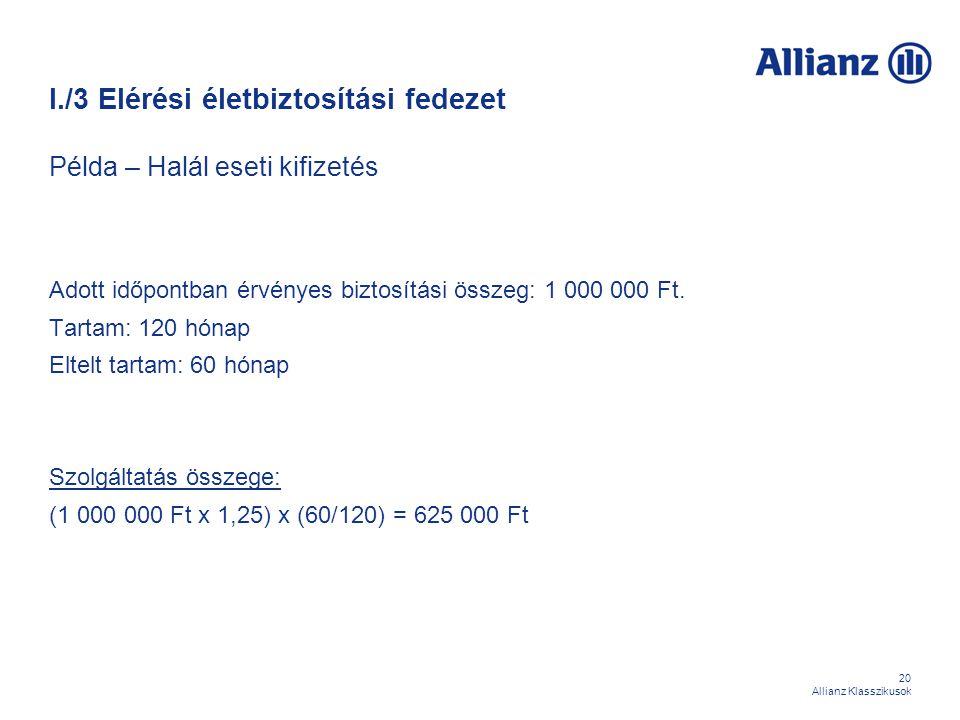 20 Allianz Klasszikusok I./3 Elérési életbiztosítási fedezet Példa – Halál eseti kifizetés Adott időpontban érvényes biztosítási összeg: 1 000 000 Ft.