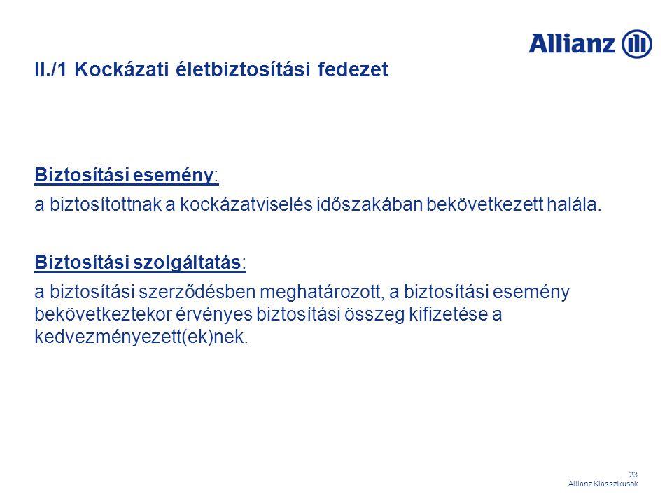 23 Allianz Klasszikusok II./1 Kockázati életbiztosítási fedezet Biztosítási esemény: a biztosítottnak a kockázatviselés időszakában bekövetkezett halá