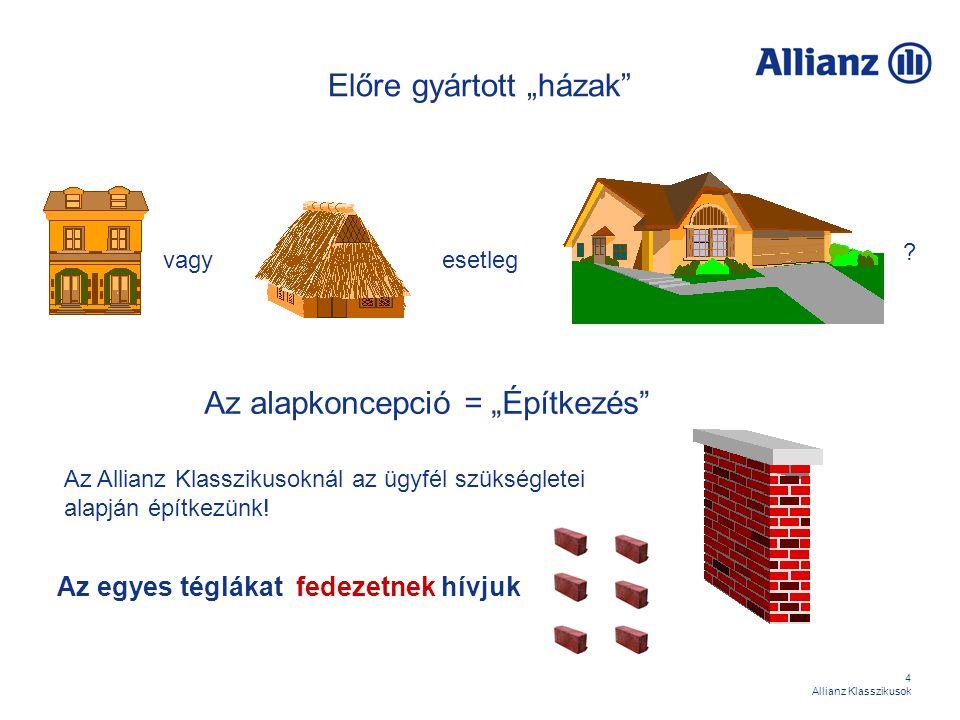 15 Allianz Klasszikusok Az építőelemek Biztosítási fedezetek Megtakarítási életbiztosítási fedezetek Kockázati biztosítási fedezetek Kiegészítő biztosítási fedezetek Programok Megtakarítási programok Biztosítási programok