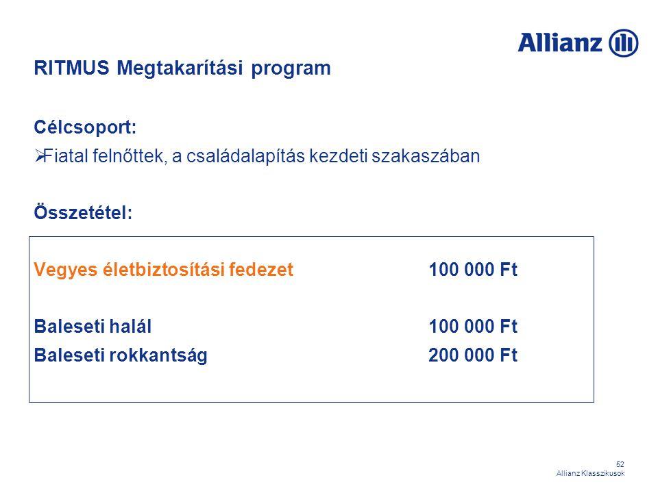 52 Allianz Klasszikusok RITMUS Megtakarítási program Célcsoport:  Fiatal felnőttek, a családalapítás kezdeti szakaszában Összetétel: Vegyes életbizto