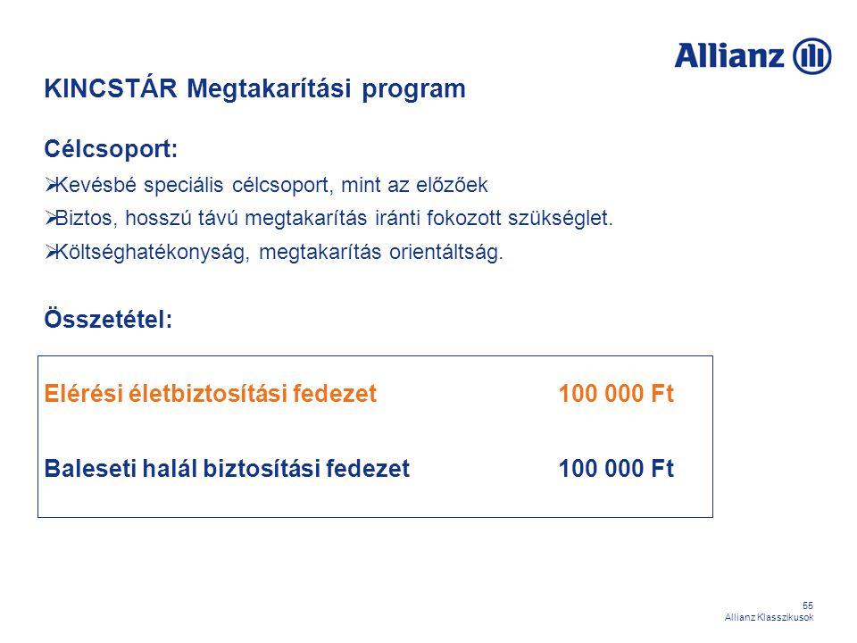 55 Allianz Klasszikusok KINCSTÁR Megtakarítási program Célcsoport:  Kevésbé speciális célcsoport, mint az előzőek  Biztos, hosszú távú megtakarítás