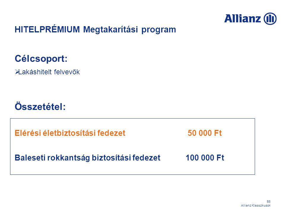 56 Allianz Klasszikusok HITELPRÉMIUM Megtakarítási program Célcsoport:  Lakáshitelt felvevők Összetétel: Elérési életbiztosítási fedezet 50 000 Ft Ba