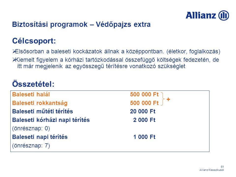 61 Allianz Klasszikusok Biztosítási programok – Védőpajzs extra Célcsoport:  Elsősorban a baleseti kockázatok állnak a középpontban. (életkor, foglal