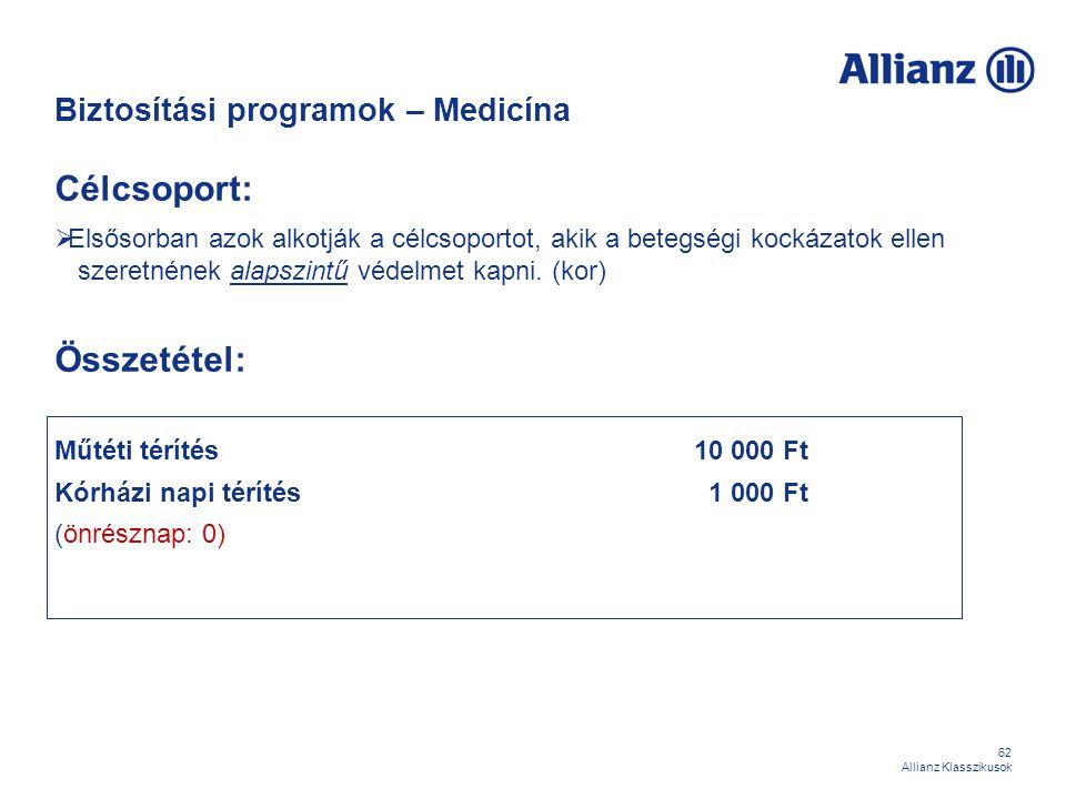 62 Allianz Klasszikusok Biztosítási programok – Medicína Célcsoport:  Elsősorban azok alkotják a célcsoportot, akik a betegségi kockázatok ellen szer