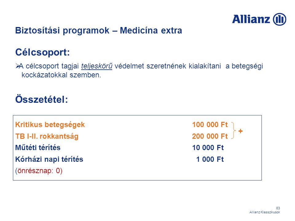 63 Allianz Klasszikusok Biztosítási programok – Medicína extra Célcsoport:  A célcsoport tagjai teljeskörű védelmet szeretnének kialakítani a betegsé