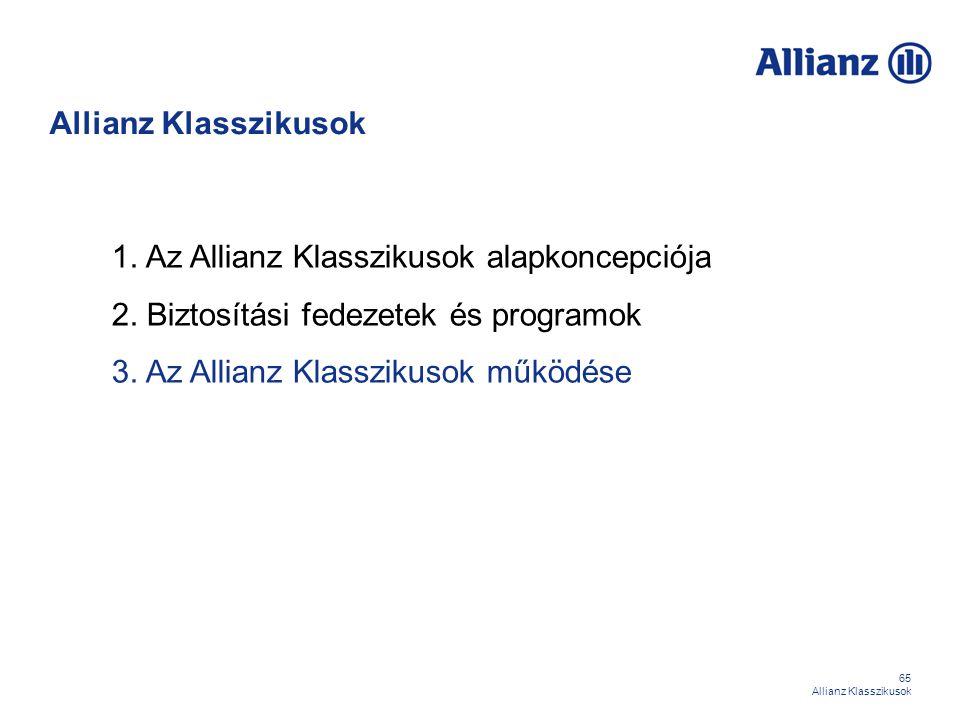 65 Allianz Klasszikusok 1. Az Allianz Klasszikusok alapkoncepciója 2. Biztosítási fedezetek és programok 3. Az Allianz Klasszikusok működése Allianz K