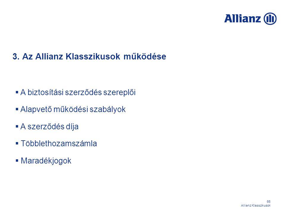 66 Allianz Klasszikusok 3. Az Allianz Klasszikusok működése  A biztosítási szerződés szereplői  Alapvető működési szabályok  A szerződés díja  Töb