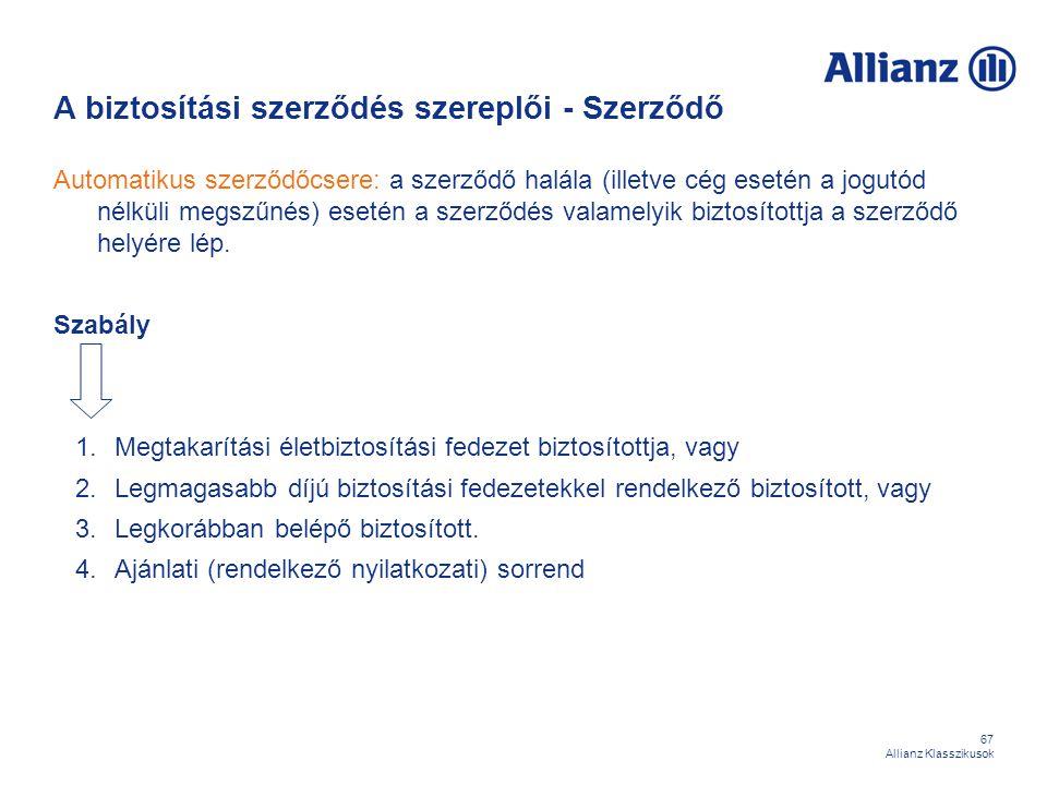 67 Allianz Klasszikusok A biztosítási szerződés szereplői - Szerződő Automatikus szerződőcsere: a szerződő halála (illetve cég esetén a jogutód nélkül