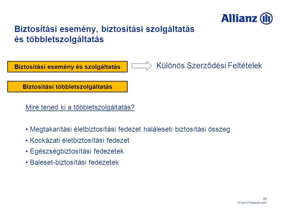 69 Allianz Klasszikusok Biztosítási esemény, biztosítási szolgáltatás és többletszolgáltatás Különös Szerződési Feltételek Biztosítási esemény és szol