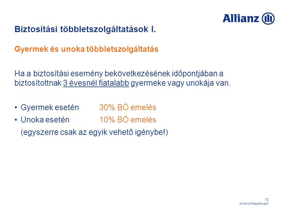 70 Allianz Klasszikusok Biztosítási többletszolgáltatások I. Gyermek és unoka többletszolgáltatás Ha a biztosítási esemény bekövetkezésének időpontjáb