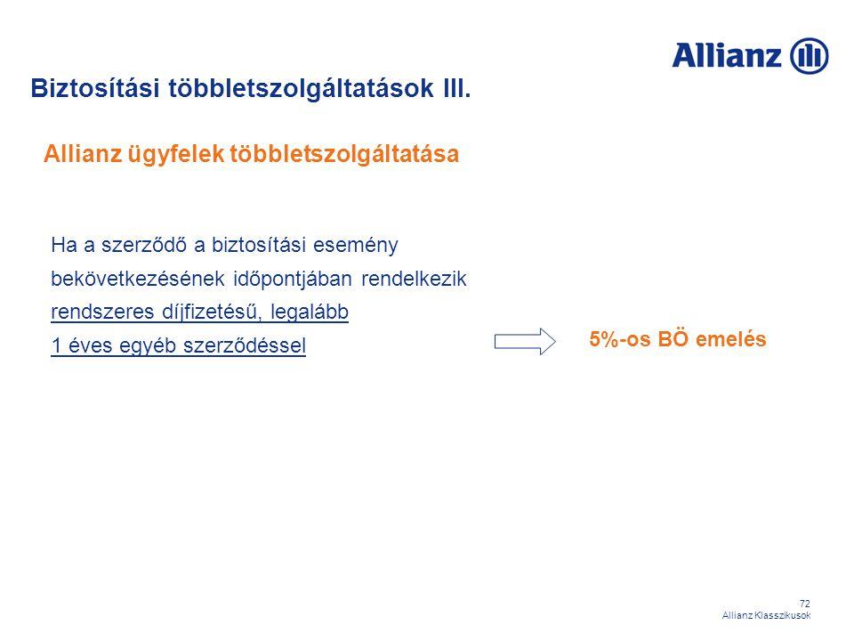72 Allianz Klasszikusok Allianz ügyfelek többletszolgáltatása Ha a szerződő a biztosítási esemény bekövetkezésének időpontjában rendelkezik rendszeres