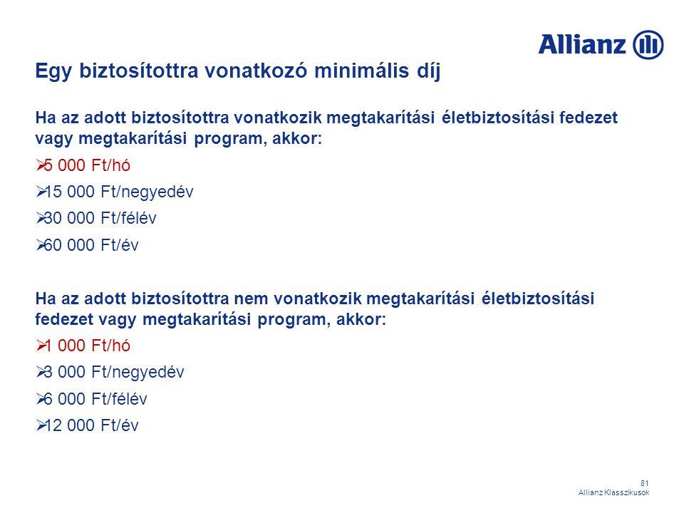 81 Allianz Klasszikusok Egy biztosítottra vonatkozó minimális díj Ha az adott biztosítottra vonatkozik megtakarítási életbiztosítási fedezet vagy megt