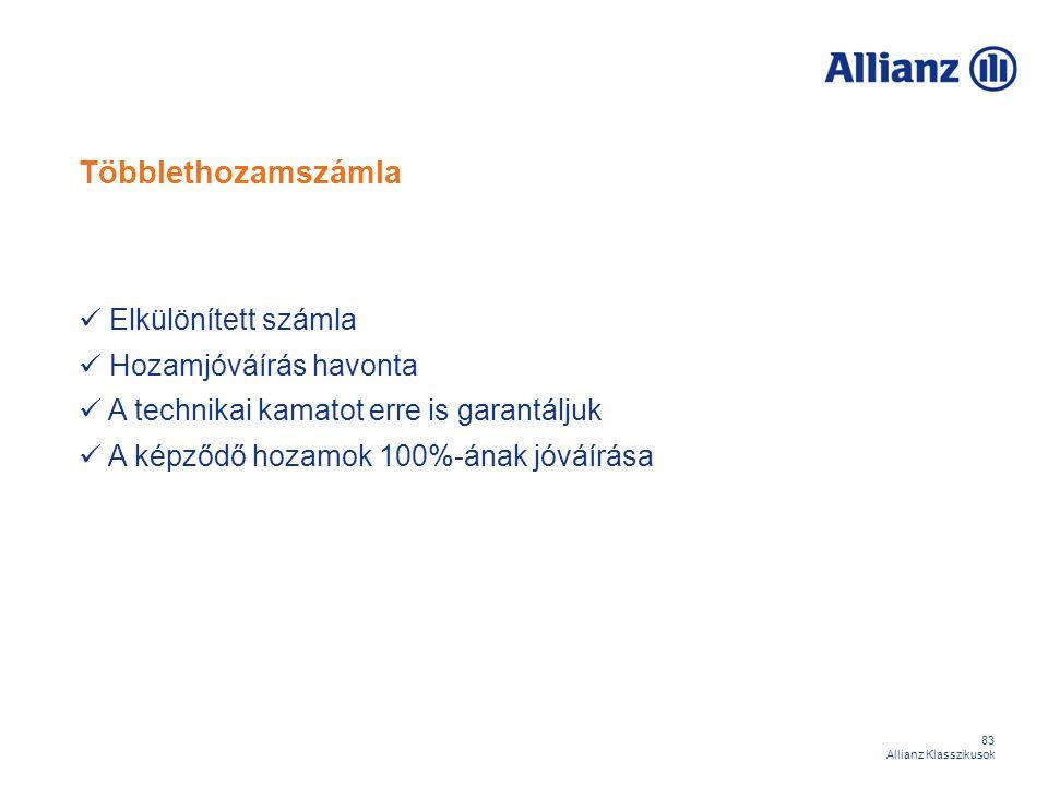 83 Allianz Klasszikusok Többlethozamszámla Elkülönített számla Hozamjóváírás havonta A technikai kamatot erre is garantáljuk A képződő hozamok 100%-án