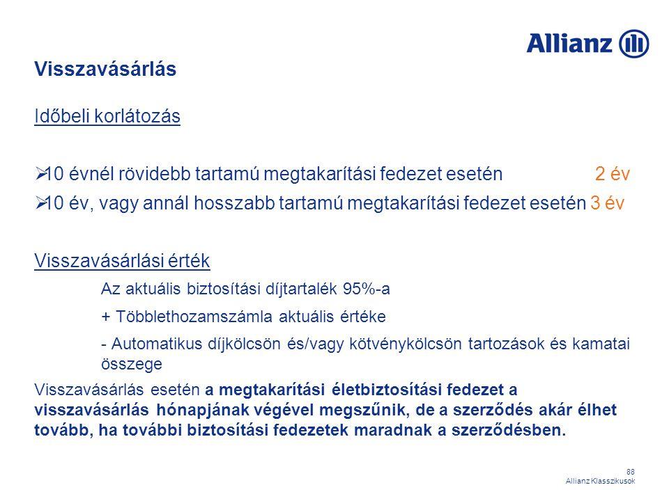 88 Allianz Klasszikusok Visszavásárlás Időbeli korlátozás  10 évnél rövidebb tartamú megtakarítási fedezet esetén 2 év  10 év, vagy annál hosszabb t