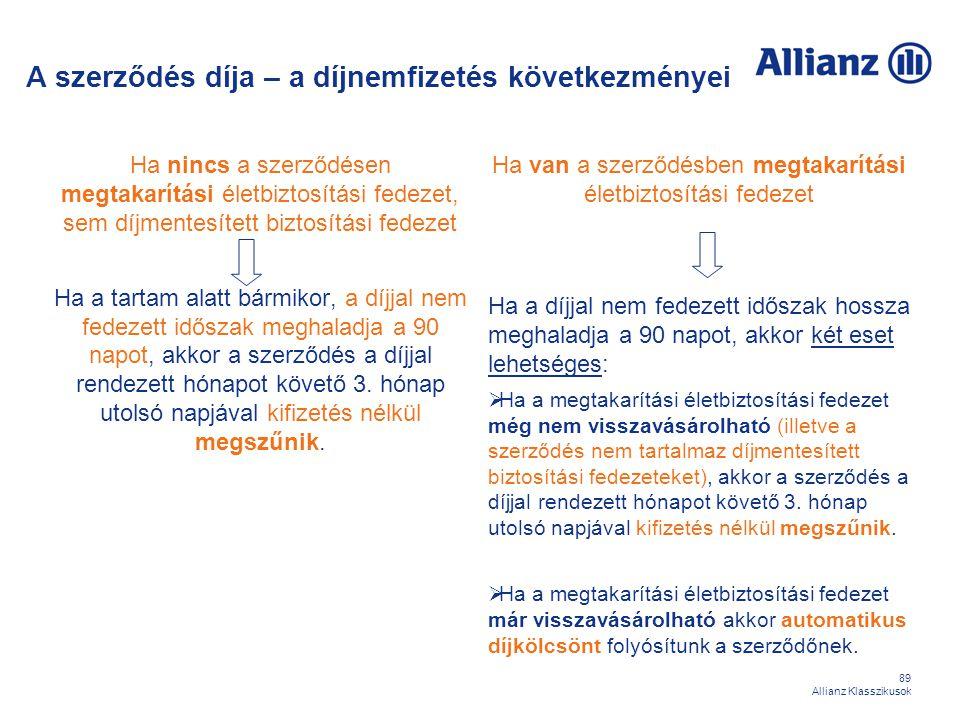 89 Allianz Klasszikusok A szerződés díja – a díjnemfizetés következményei Ha nincs a szerződésen megtakarítási életbiztosítási fedezet, sem díjmentesí