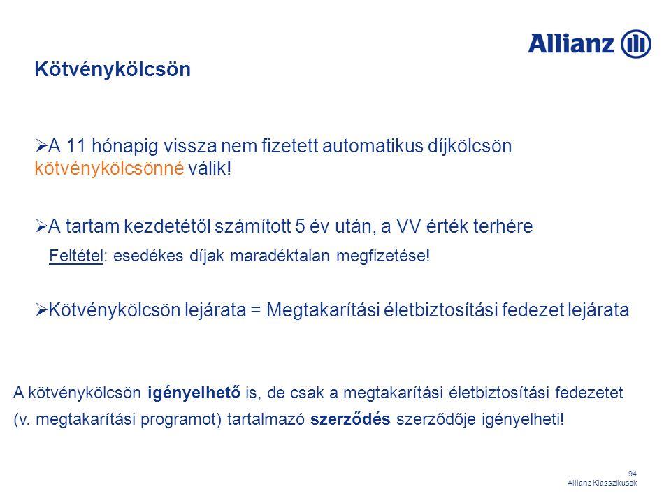 94 Allianz Klasszikusok Kötvénykölcsön  A 11 hónapig vissza nem fizetett automatikus díjkölcsön kötvénykölcsönné válik!  A tartam kezdetétől számíto