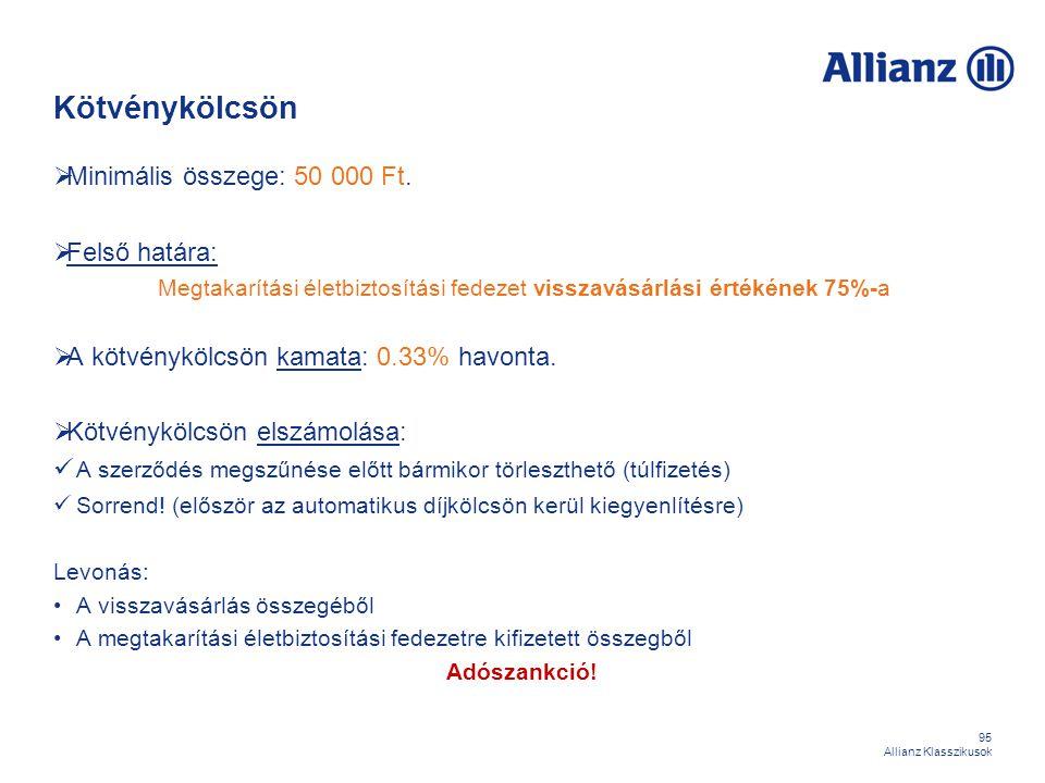 95 Allianz Klasszikusok Kötvénykölcsön  Minimális összege: 50 000 Ft.  Felső határa: Megtakarítási életbiztosítási fedezet visszavásárlási értékének