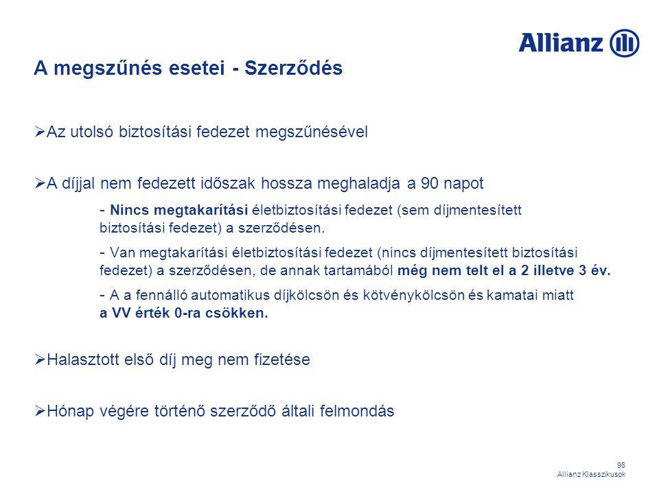 96 Allianz Klasszikusok A megszűnés esetei - Szerződés  Az utolsó biztosítási fedezet megszűnésével  A díjjal nem fedezett időszak hossza meghaladja