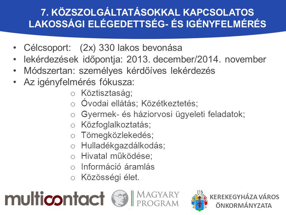 7. KÖZSZOLGÁLTATÁSOKKAL KAPCSOLATOS LAKOSSÁGI ELÉGEDETTSÉG- ÉS IGÉNYFELMÉRÉS Célcsoport: (2x) 330 lakos bevonása lekérdezések időpontja: 2013. decembe