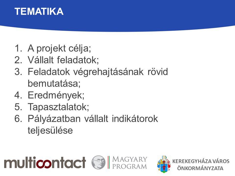 TEMATIKA 1.A projekt célja; 2.Vállalt feladatok; 3.Feladatok végrehajtásának rövid bemutatása; 4.Eredmények; 5.Tapasztalatok; 6.Pályázatban vállalt indikátorok teljesülése KEREKEGYHÁZA VÁROS ÖNKORMÁNYZATA