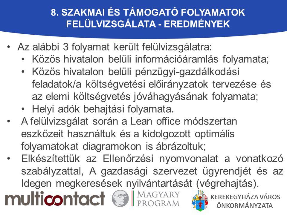 8. SZAKMAI ÉS TÁMOGATÓ FOLYAMATOK FELÜLVIZSGÁLATA - EREDMÉNYEK Az alábbi 3 folyamat került felülvizsgálatra: Közös hivatalon belüli információáramlás