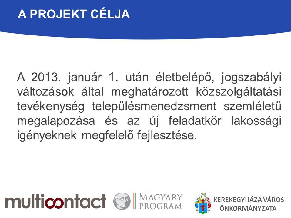 A PROJEKT CÉLJA A 2013. január 1. után életbelépő, jogszabályi változások által meghatározott közszolgáltatási tevékenység településmenedzsment szemlé