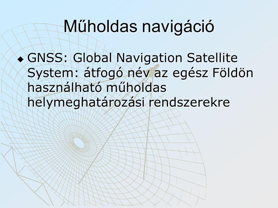 Műholdas navigáció  GNSS: Global Navigation Satellite System: átfogó név az egész Földön használható műholdas helymeghatározási rendszerekre
