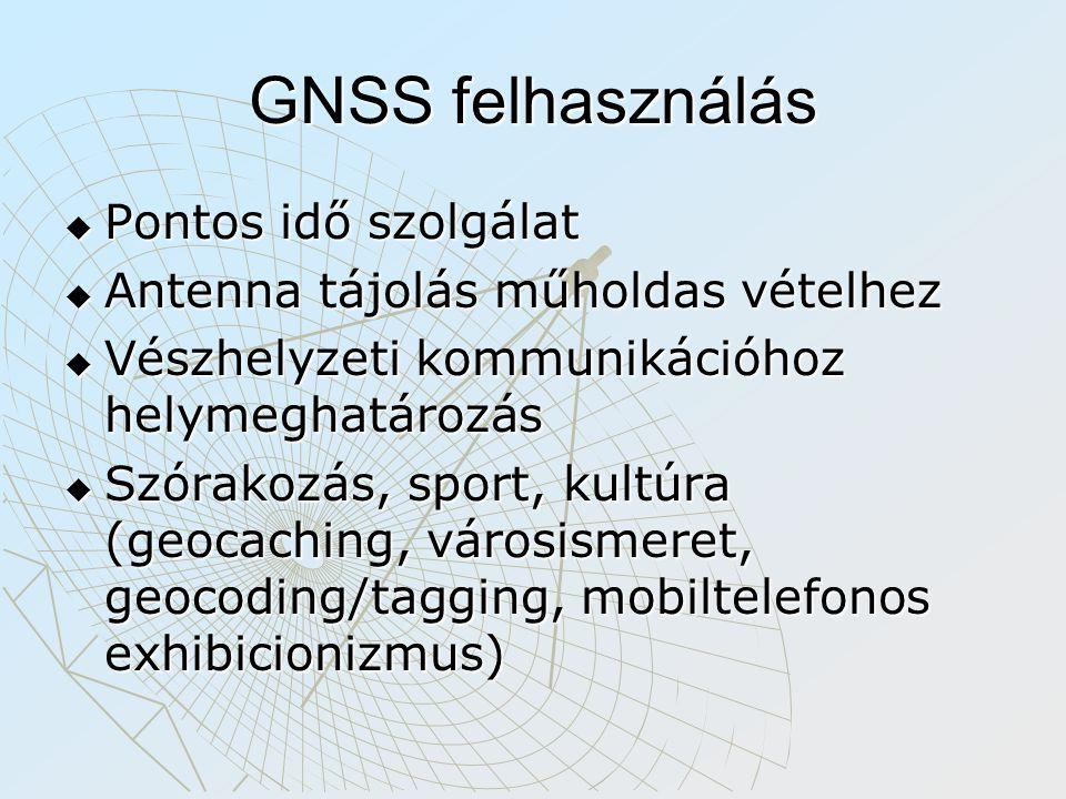 GNSS felhasználás  Pontos idő szolgálat  Antenna tájolás műholdas vételhez  Vészhelyzeti kommunikációhoz helymeghatározás  Szórakozás, sport, kultúra (geocaching, városismeret, geocoding/tagging, mobiltelefonos exhibicionizmus)