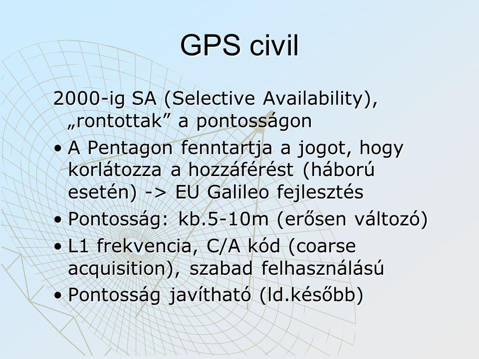 """GPS civil 2000-ig SA (Selective Availability), """"rontottak a pontosságon A Pentagon fenntartja a jogot, hogy korlátozza a hozzáférést (háború esetén) -> EU Galileo fejlesztésA Pentagon fenntartja a jogot, hogy korlátozza a hozzáférést (háború esetén) -> EU Galileo fejlesztés Pontosság: kb.5-10m (erősen változó)Pontosság: kb.5-10m (erősen változó) L1 frekvencia, C/A kód (coarse acquisition), szabad felhasználásúL1 frekvencia, C/A kód (coarse acquisition), szabad felhasználású Pontosság javítható (ld.később)Pontosság javítható (ld.később)"""