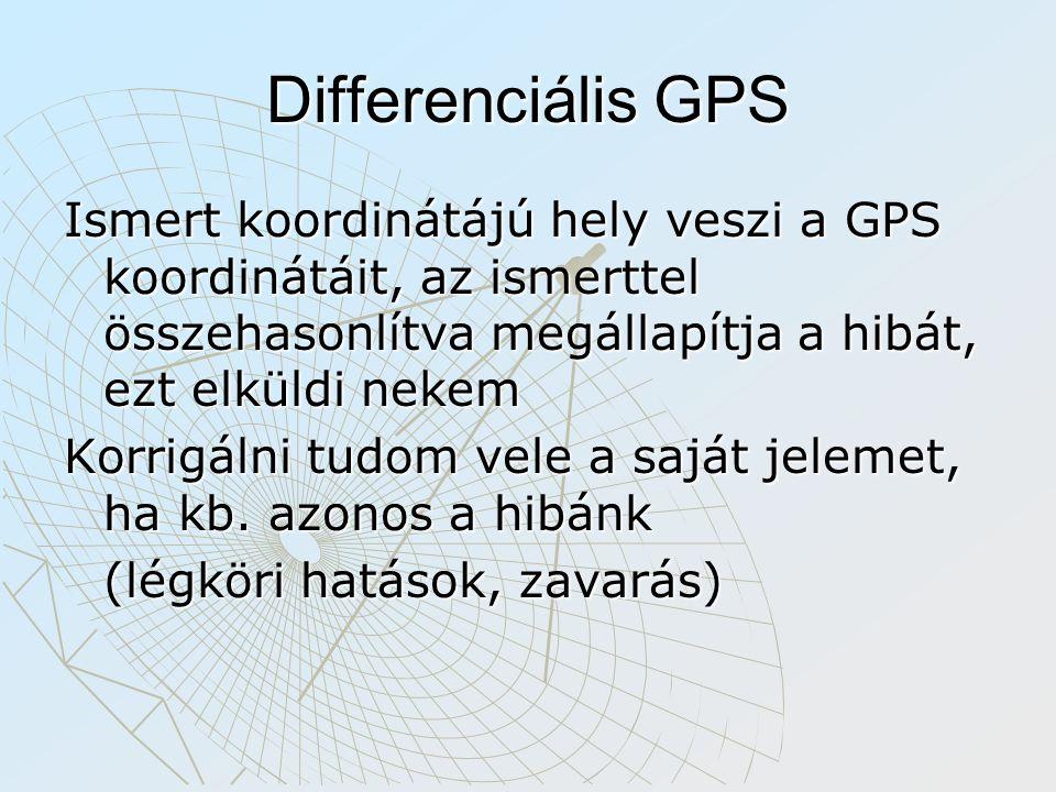 Differenciális GPS Ismert koordinátájú hely veszi a GPS koordinátáit, az ismerttel összehasonlítva megállapítja a hibát, ezt elküldi nekem Korrigálni tudom vele a saját jelemet, ha kb.