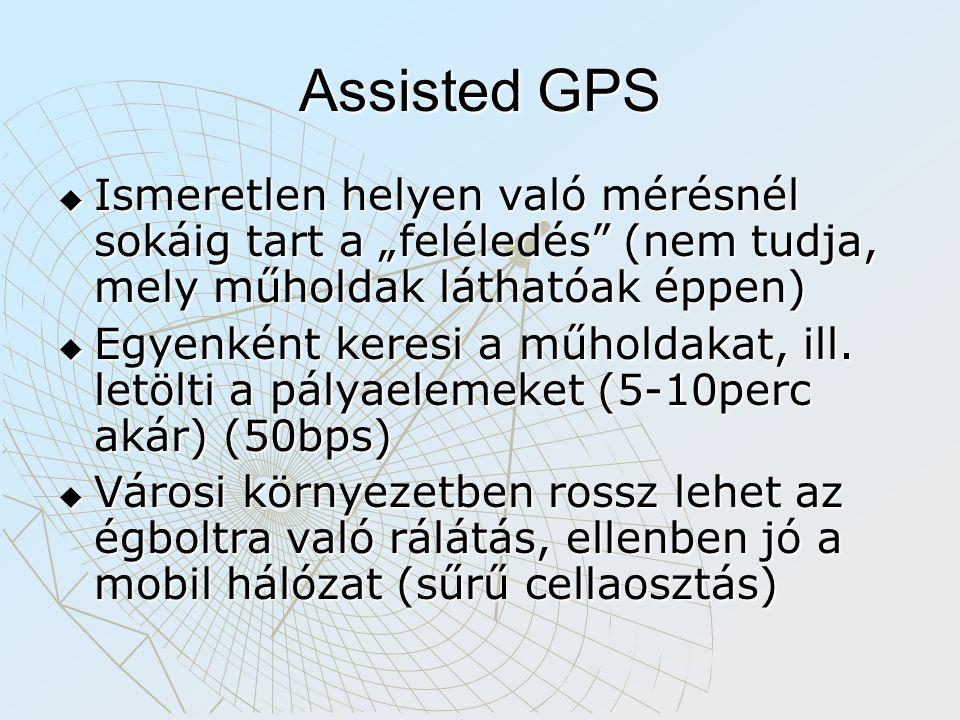 """Assisted GPS  Ismeretlen helyen való mérésnél sokáig tart a """"feléledés (nem tudja, mely műholdak láthatóak éppen)  Egyenként keresi a műholdakat, ill."""