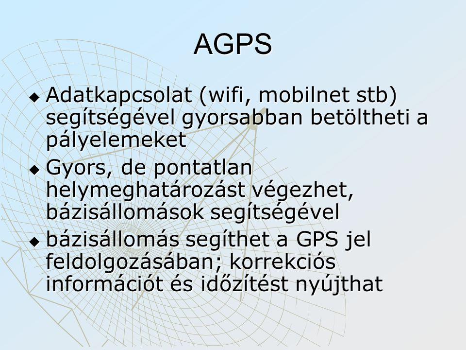 AGPS  Adatkapcsolat (wifi, mobilnet stb) segítségével gyorsabban betöltheti a pályelemeket  Gyors, de pontatlan helymeghatározást végezhet, bázisállomások segítségével  bázisállomás segíthet a GPS jel feldolgozásában; korrekciós információt és időzítést nyújthat