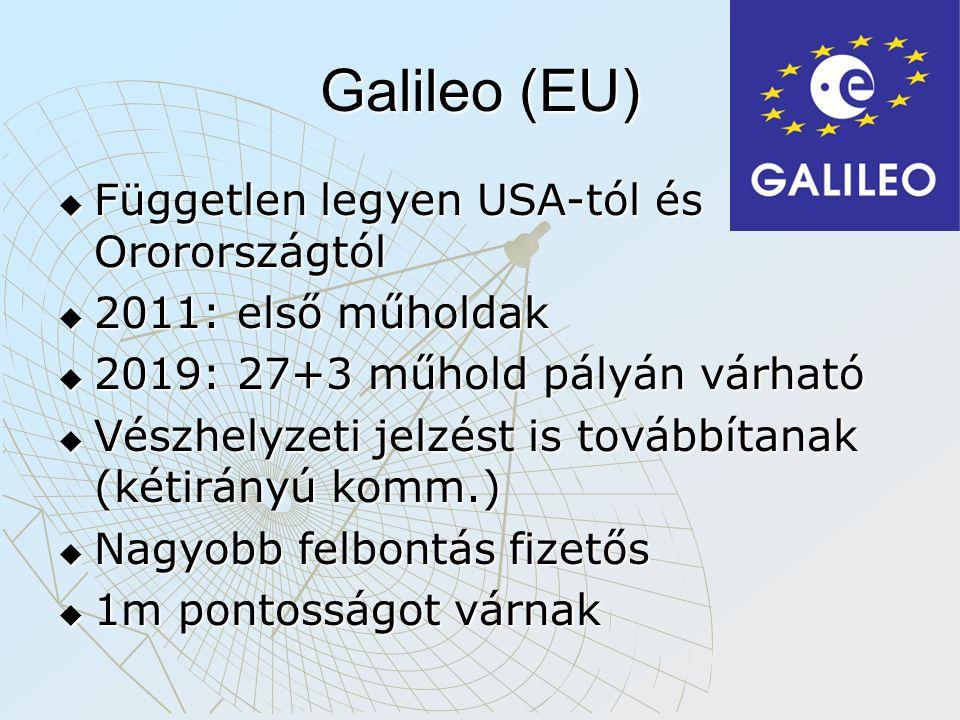 Galileo (EU)  Független legyen USA-tól és Ororországtól  2011: első műholdak  2019: 27+3 műhold pályán várható  Vészhelyzeti jelzést is továbbítanak (kétirányú komm.)  Nagyobb felbontás fizetős  1m pontosságot várnak