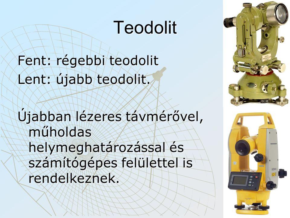 Teodolit Fent: régebbi teodolit Lent: újabb teodolit.
