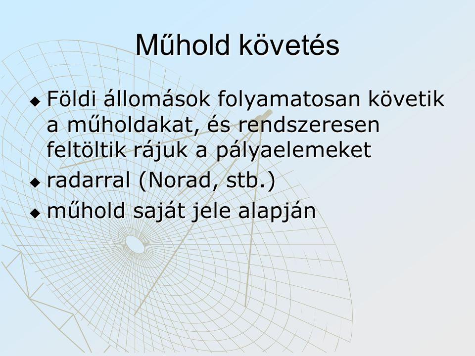 Műhold követés  Földi állomások folyamatosan követik a műholdakat, és rendszeresen feltöltik rájuk a pályaelemeket  radarral (Norad, stb.)  műhold saját jele alapján