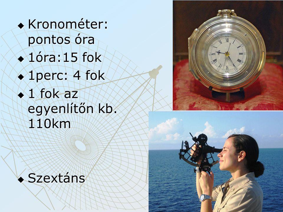  Kronométer: pontos óra  1óra:15 fok  1perc: 4 fok  1 fok az egyenlítőn kb. 110km  Szextáns