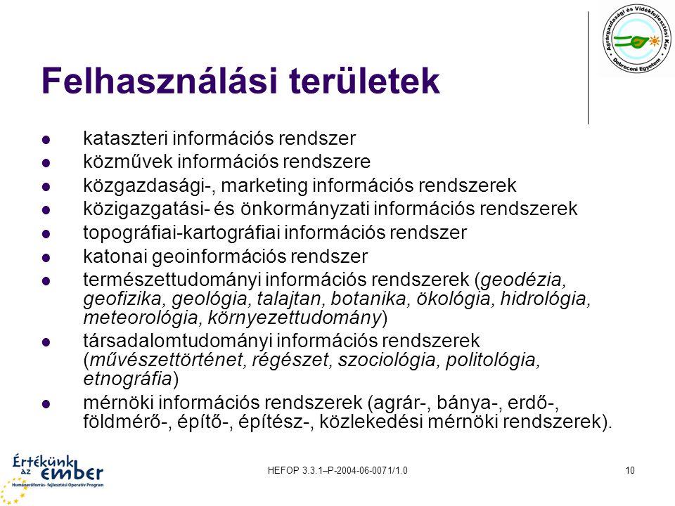 HEFOP 3.3.1–P-2004-06-0071/1.010 Felhasználási területek kataszteri információs rendszer közművek információs rendszere közgazdasági-, marketing infor
