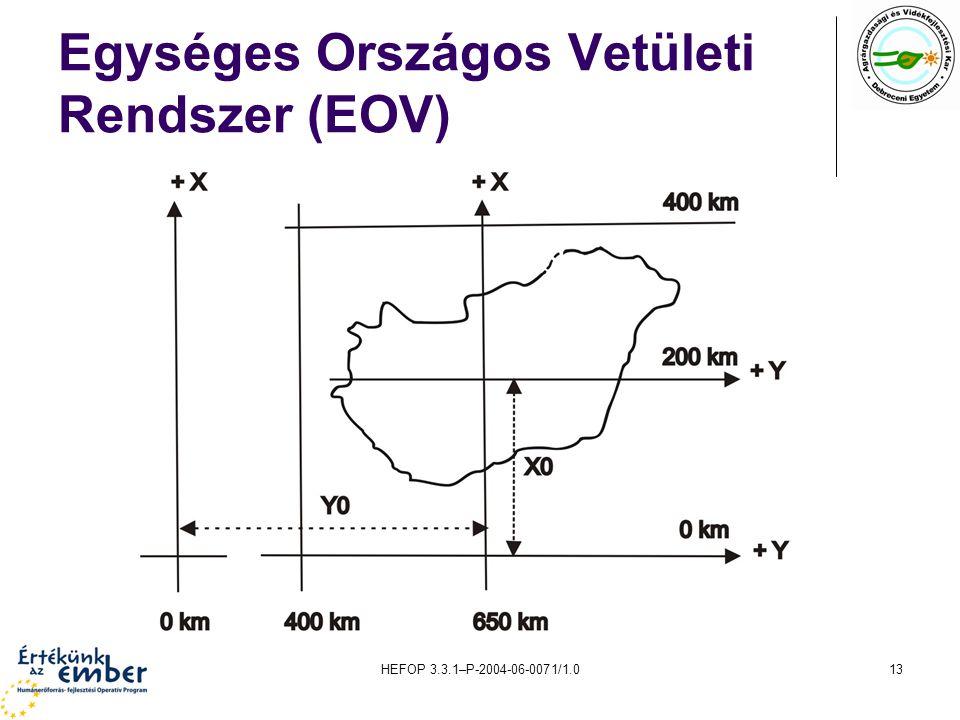 HEFOP 3.3.1–P-2004-06-0071/1.013 Egységes Országos Vetületi Rendszer (EOV)