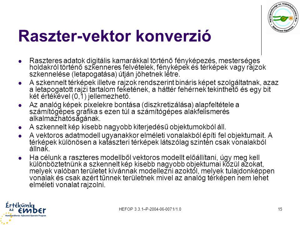 HEFOP 3.3.1–P-2004-06-0071/1.015 Raszter-vektor konverzió Raszteres adatok digitális kamarákkal történő fényképezés, mesterséges holdakról történő szk