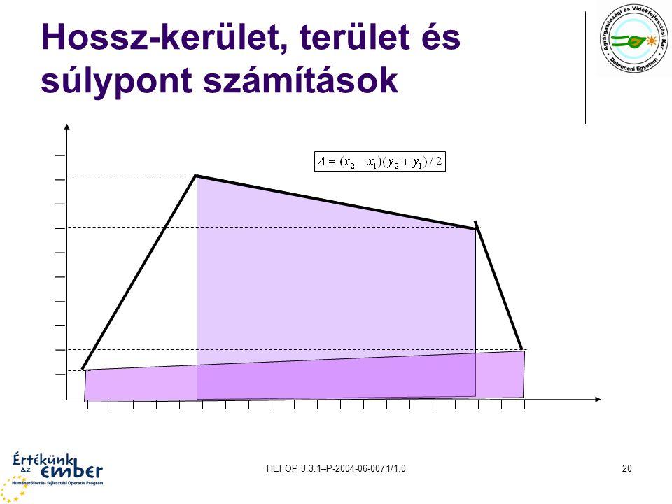 HEFOP 3.3.1–P-2004-06-0071/1.020 Hossz-kerület, terület és súlypont számítások