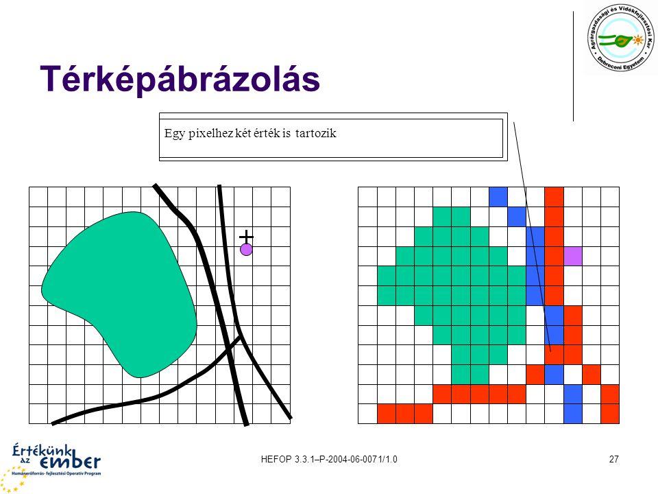 HEFOP 3.3.1–P-2004-06-0071/1.027 Térképábrázolás Egy pixelhez két érték is tartozik