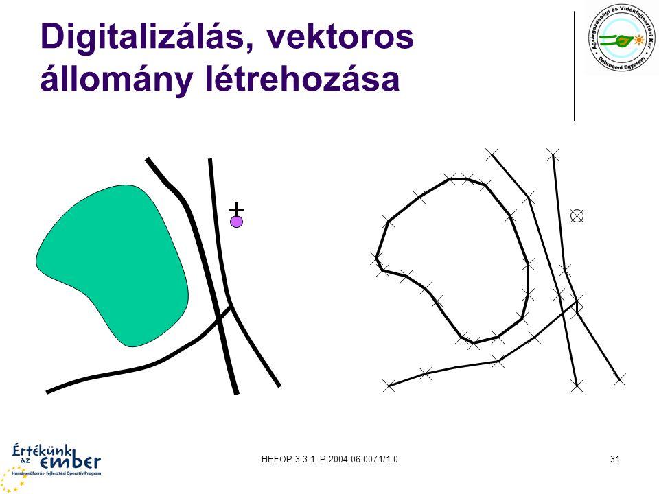HEFOP 3.3.1–P-2004-06-0071/1.031 Digitalizálás, vektoros állomány létrehozása