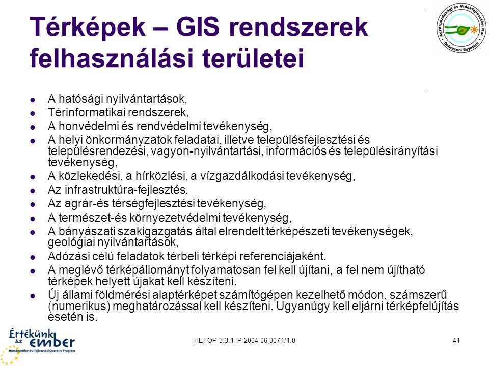 HEFOP 3.3.1–P-2004-06-0071/1.041 Térképek – GIS rendszerek felhasználási területei A hatósági nyilvántartások, Térinformatikai rendszerek, A honvédelm