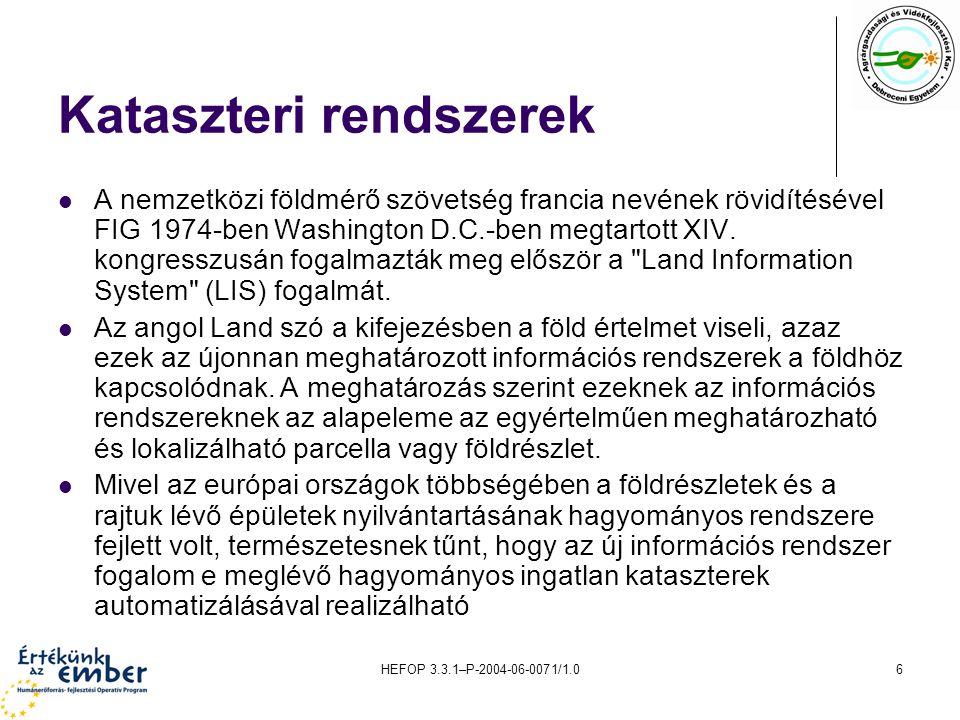HEFOP 3.3.1–P-2004-06-0071/1.06 Kataszteri rendszerek A nemzetközi földmérő szövetség francia nevének rövidítésével FIG 1974-ben Washington D.C.-ben m